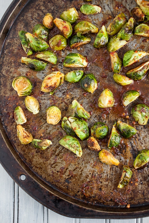 roasted brussels sprouts with a sweet and spicy glaze
