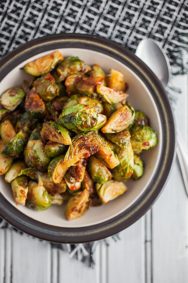 Sweet and Spicy Roasted Brussels Sprouts | The Rustic Foodie