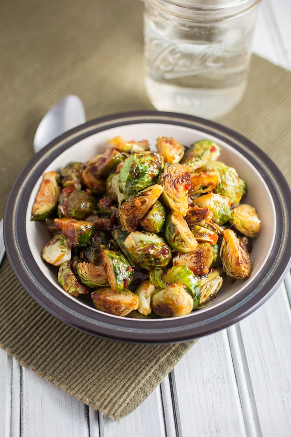 sweet and spicy roasted brussels sprouts