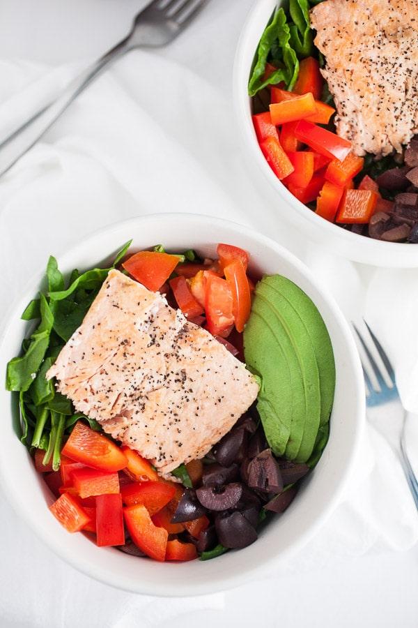 Mediterranean Salmon and Farro Buddha Bowl