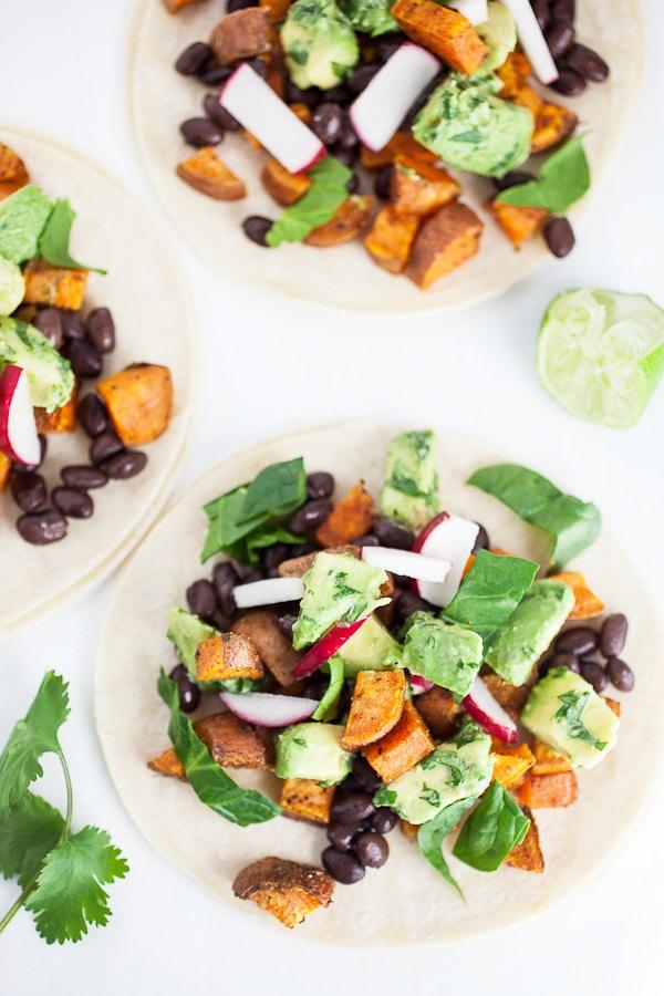sweet potato tacos with avocado salsa