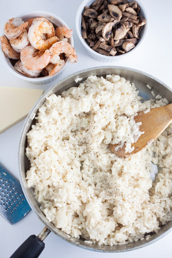 Risotto, Sauteed Mushrooms and Shrimp