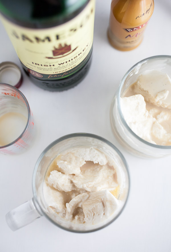 Whiskey and Bailey's poured on top of ice cream