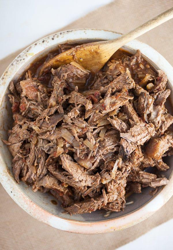 Bowl of shredded barbacoa meat