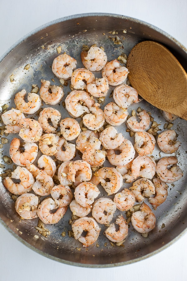 Sauteed Garlicky Shrimp in pan