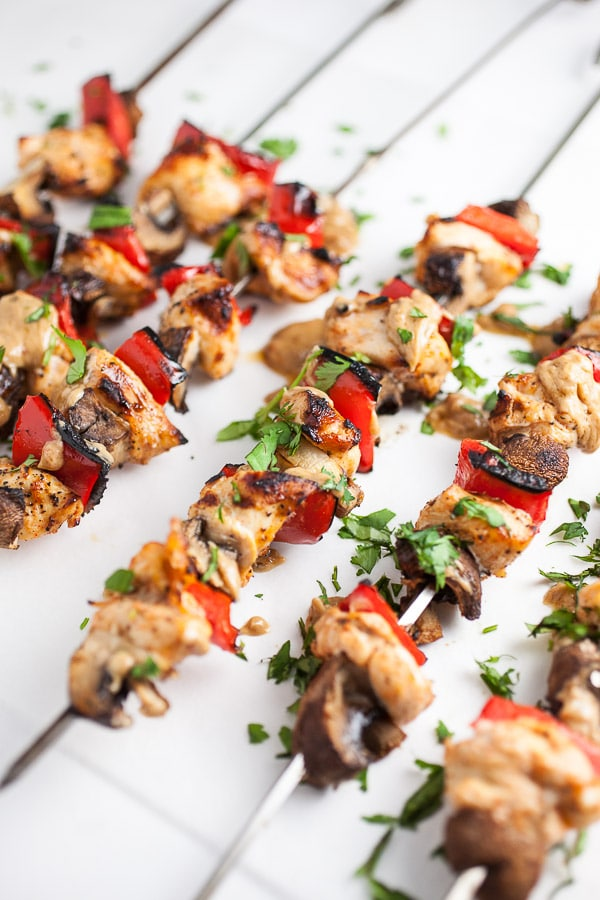 Grilled Chicken Skewers with Thai Peanut Sauce