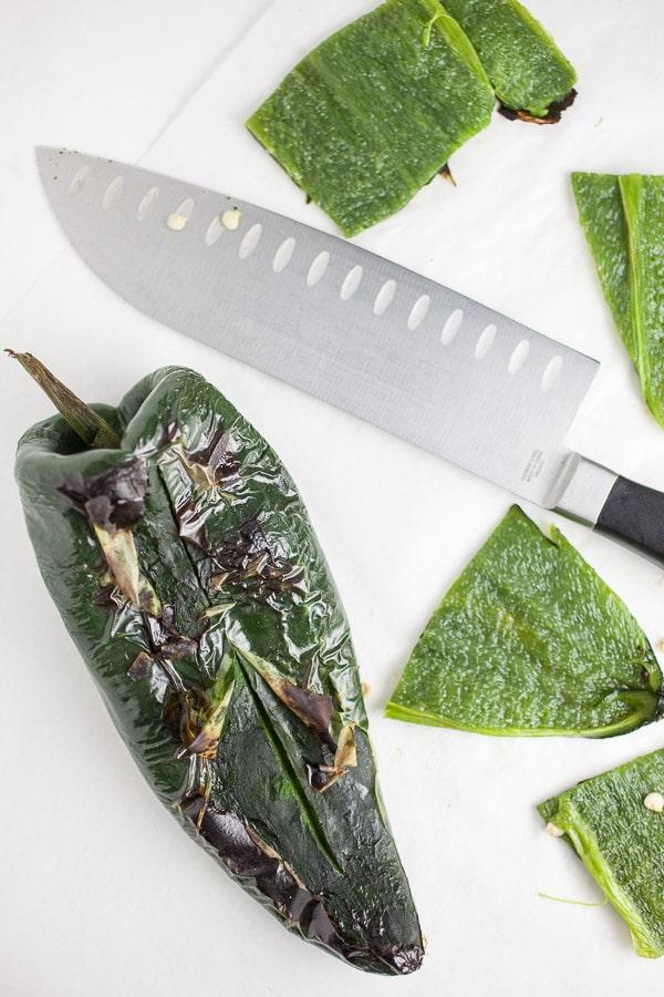 Roasted poblanos cut into pieces