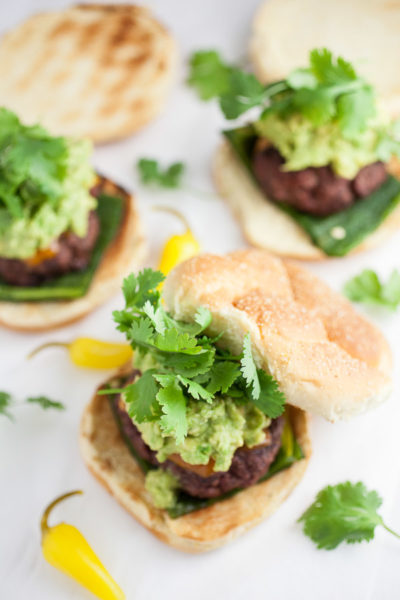 Guacamole and Roasted Poblano Burgers