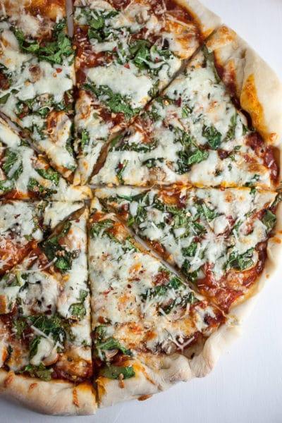 Homemade Mushroom and Arugula Pizza