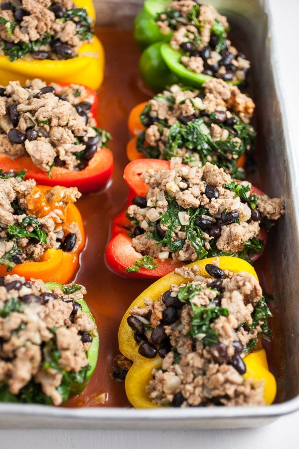 Southwest Turkey and Black Bean Stuffed Peppers in pan
