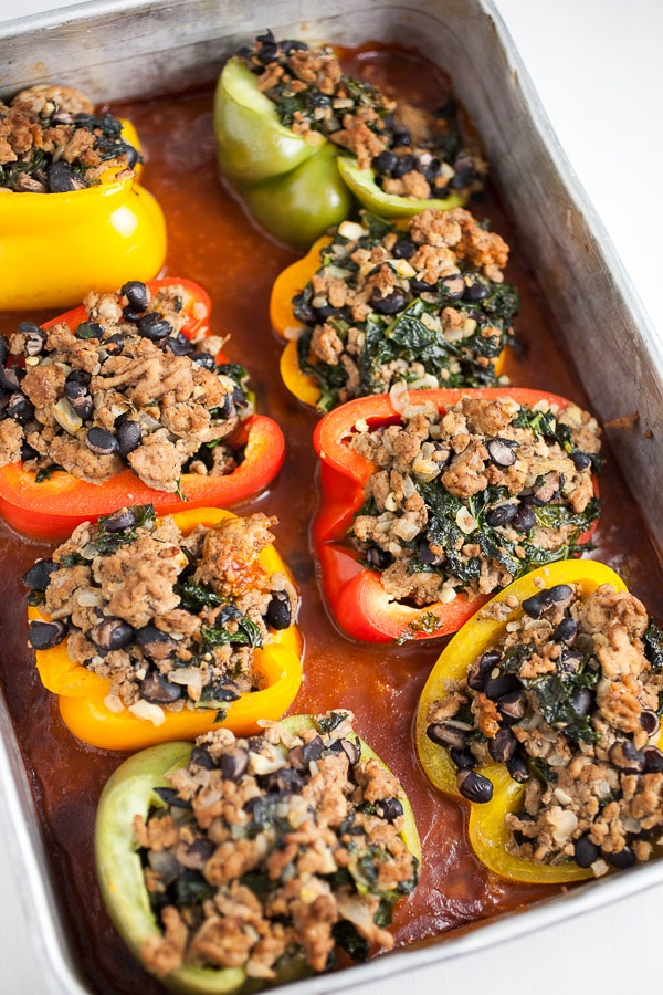 Baked Southwest Turkey and Black Bean Stuffed Peppers in pan
