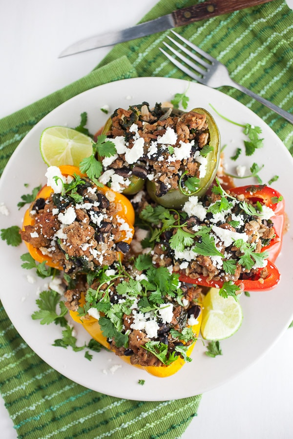 Southwest Turkey and Black Bean Stuffed Peppers