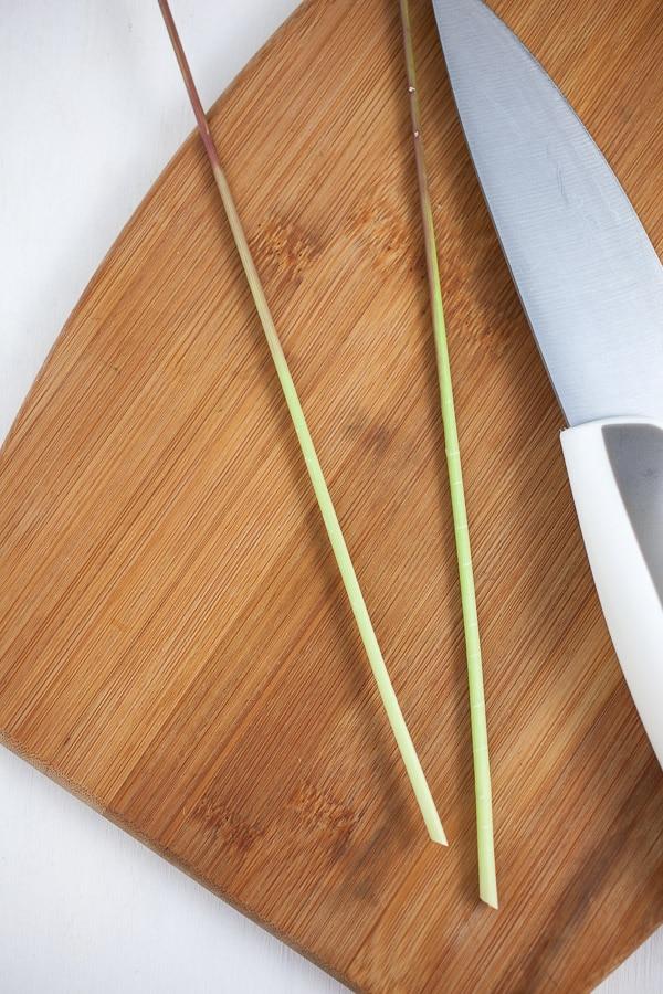 Lemongrass on cutting board