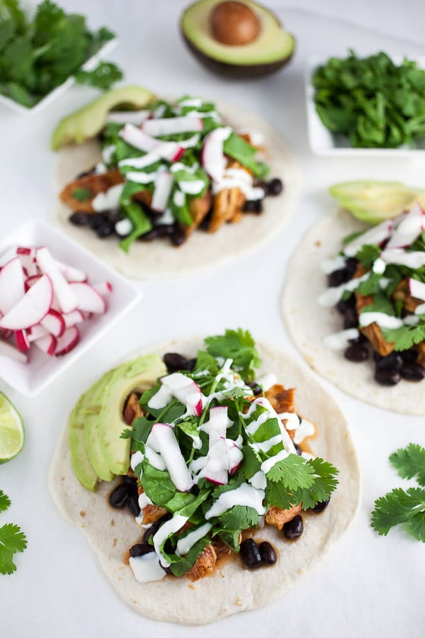 Skillet Chipotle Chicken Tacos with Mexican Crema