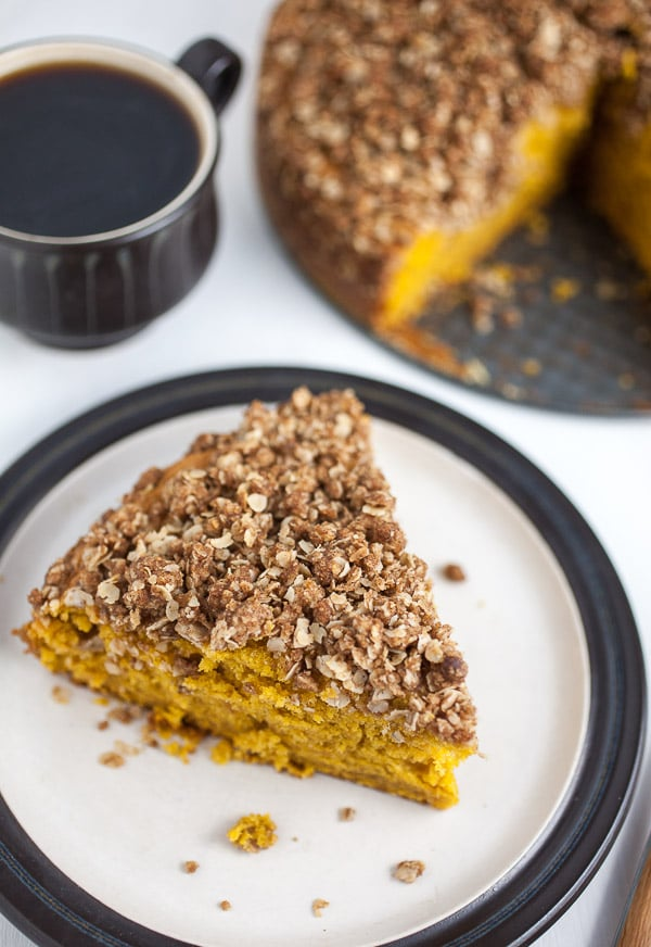 Pumpkin Coffee Cake with Oatmeal Struesel Topping