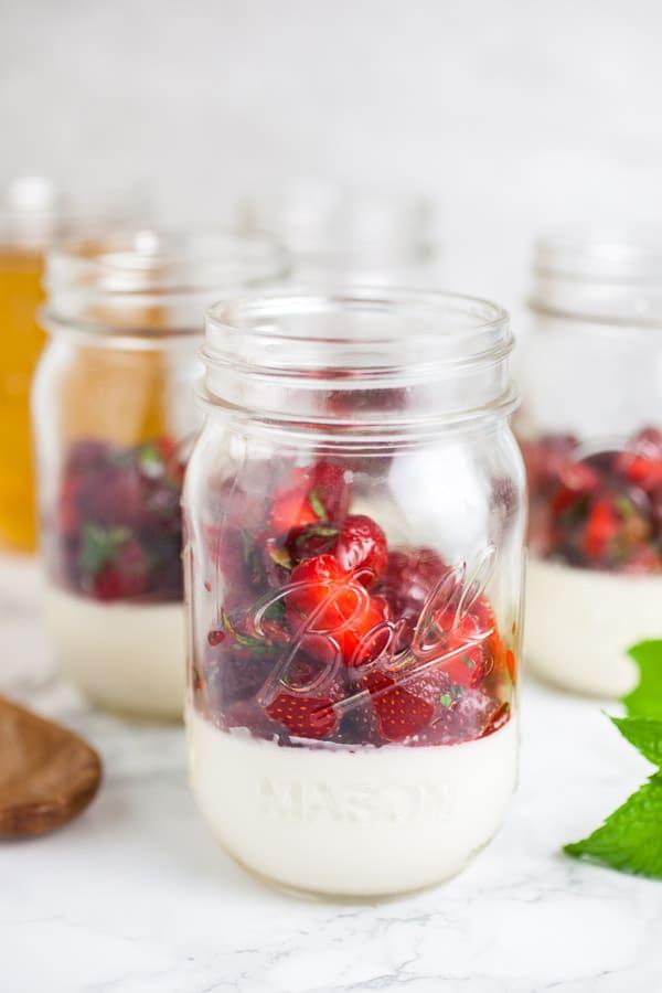 Easy Strawberry Mint Panna Cotta