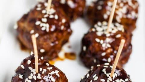 Crockpot Teriyaki Turkey Meatballs
